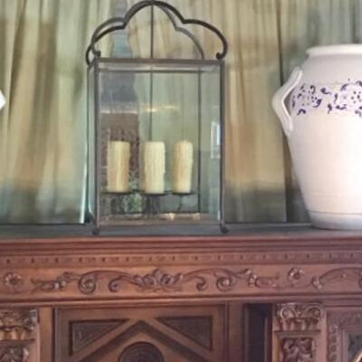 K177 - Wrought Iron Hanging Candle Lamp w/ Beveled Glass Panels