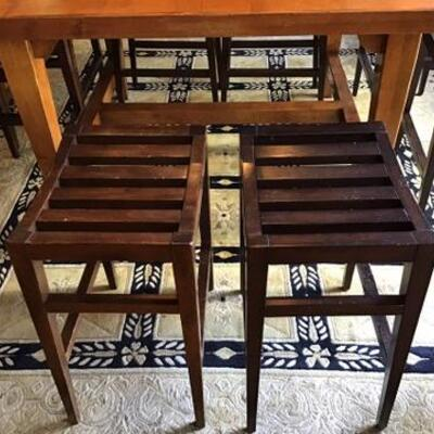 K179 - Bar High Wooden Dining Table w/ 8 Stool Style Chairs