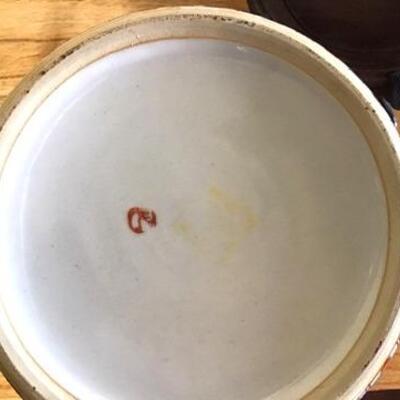 E101 - Lg. Oriental Porcelain Ginger Jar w/ Wooden Stand   #1