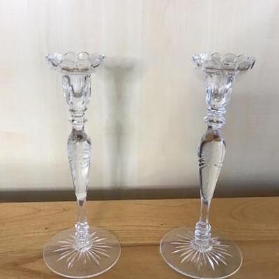 E103 - Pair of Rogaska & Orrefors Candle Holders
