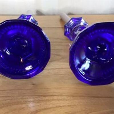 E104 - Pair of Fabulous Cobalt Blue/Purple Opalescent Candlesticks