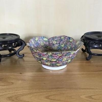 E110 - Asian Floral Bowl w/ 2 Wooden Display Stands