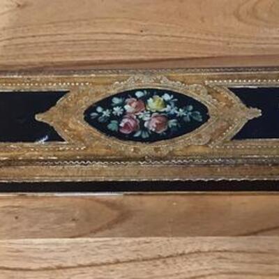 E116 - Vtg. Oblong Wooden Box w/ Gold & Handpainted Flowers