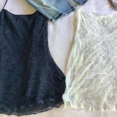 C121 - Boho Clothing Lot - 4 All Mankind Denim Skirt, Black Beaded Top + More