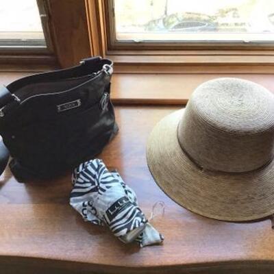 C125 - Black TUMI Shoulder Bag, Straw Hat & Nicole Miller Umbrella