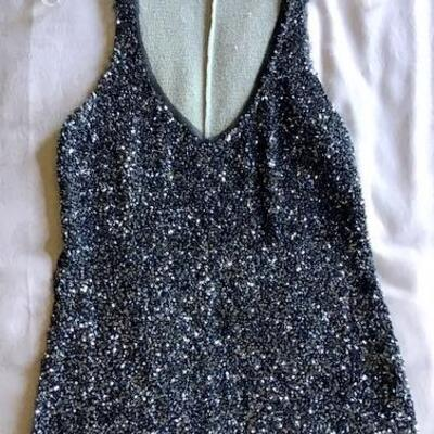 C128 - Burning Torch Sequined Tank Top Size P