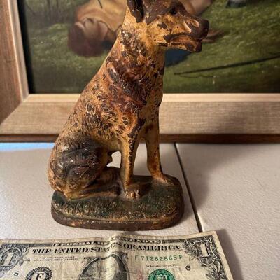 Cast iron dog statue