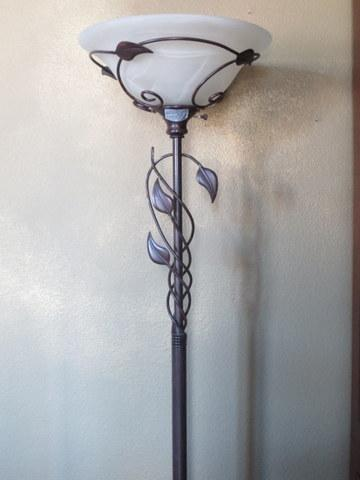 """This appealing lamp is approx. 6' 4"""" tall and has a brownish bronze finish."""