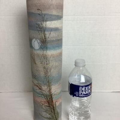 K - 104 Artisan Signed Cylinder Scenic Pottery Vase