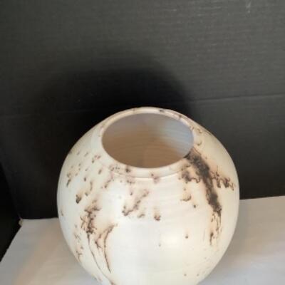"K - 112  "" Copper Flash "" Raku Pottery by Bruce Johnson"