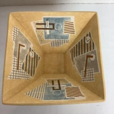 K - 114 Abstract Raku Pottery Bowl, Signed by Creator, VanAssche