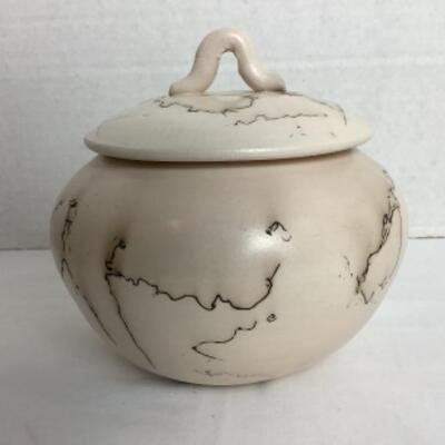 K - 115  Artisan Signed Horsehair Raku Pottery Jar with Lid