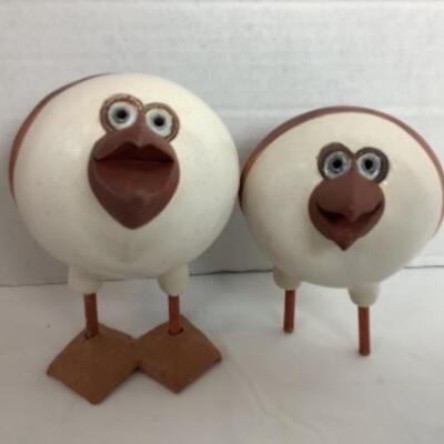 K - 116 Pair of Signed, Artisan Pottery Birds