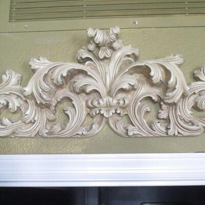 B422 -  Wooden Scroll & Leaf Relief Wall Hanging