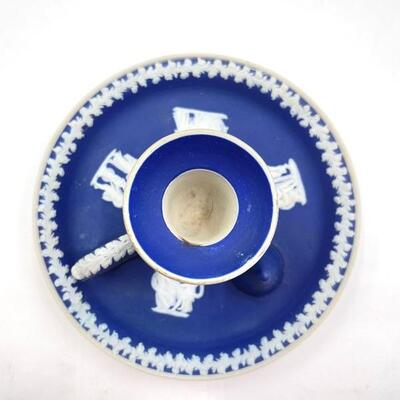 WEDGWOOD COBALT BLUE JASPERWARE CANDLESTICK