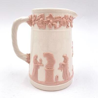 WEDGWOOD PINK ON WHITE EMBOSSED QUEENSWARE SMALL PITCHER