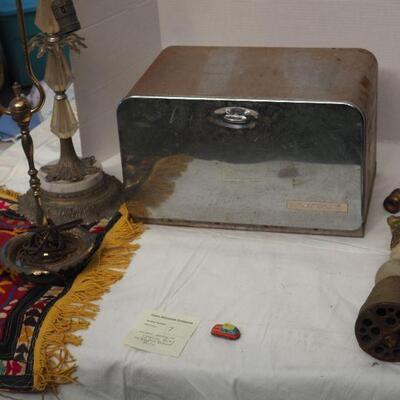 Lot 07 Vintage bread box, antique lamps for parts