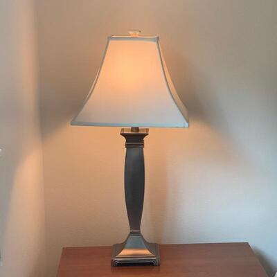 3-Way Pewter in Color Lamp with Cream Shade