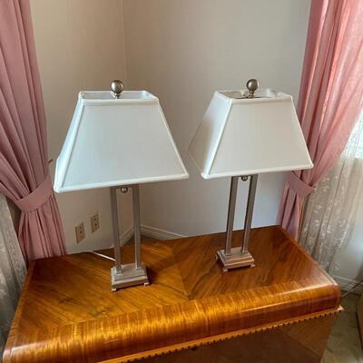 Pair of Brushed Metal  3-Way Lamps