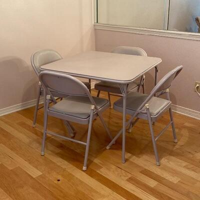 Poker Anyone? Traditional Card Table & Matching 4 Chairs