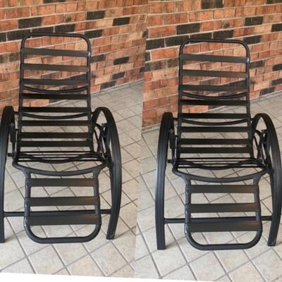 Pair of Outdoor Reclining Metal Lounge Chairs