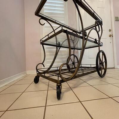 Bronze Metal Rolling Bar Cart