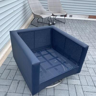 Pair of Crate and barrel outdoor swivel chairs