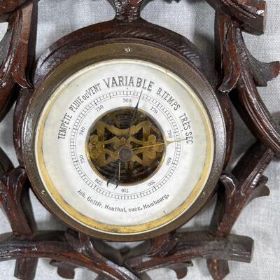 Antique French Black Forest Barometer 2337 Branches & Flower Hamburg