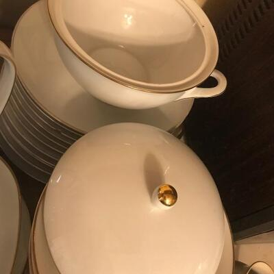 Lot 31K:  White with Gold Trim Tea Set and Dinner Ware.