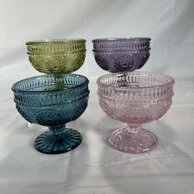 Patterened Colored  Glass Footed Dish