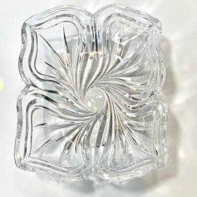 Lead Crystal Pansy Rectangle Candy Dish