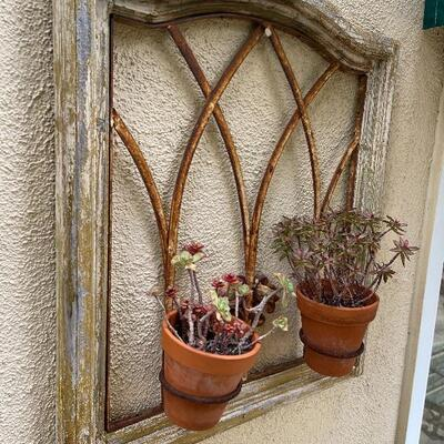 Rustic Patio Garden Wall Art with 2 potted succulents