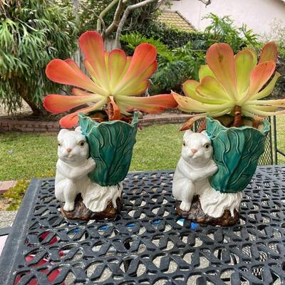 Pair of adorable rabbit planters with succulents