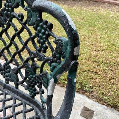 Vintage cast iron bench, two seater grape design