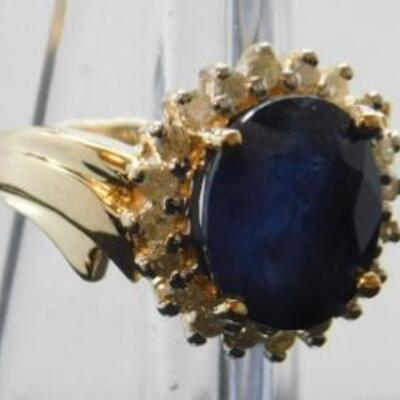 14 KT Gold Lady's Sapphire Ring with Diamonds .40 ctw  5.5 grams