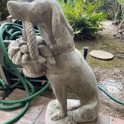 Concrete Dog with Basket Yard Art Statue
