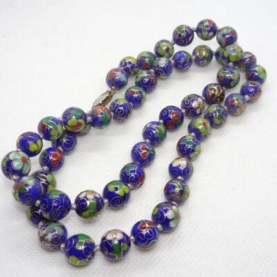Royal Blue Cloisonné Beaded Necklace