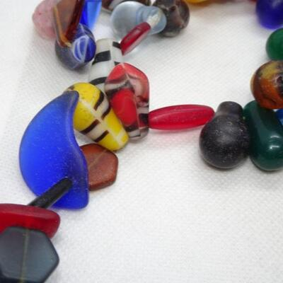 Glass & Trade Beaded Necklace, Tribal - Brilliant Colors