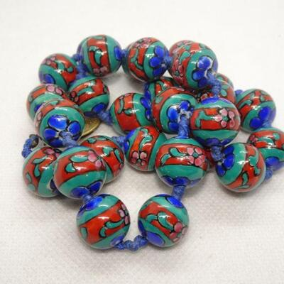 Ceramic Trade Beaded Necklace, Hand tied knots