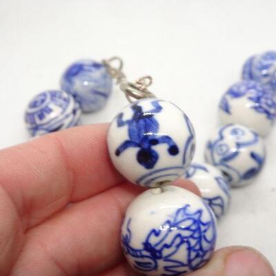 Vintage Blue & White Porcelain Beaded Necklace - Japanese Beads