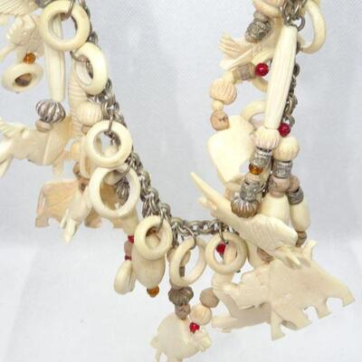 Carved Bone African Style Fetish Necklace, Camels, Elephants, Gazelles, Birds Unusual!