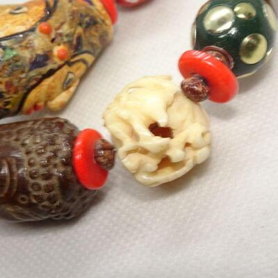 1960's Chunky Trade Bead Necklace, Tribal, 2-sided face, carved glass bead, Natural stone beads, Ivory colored bead