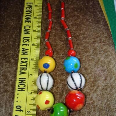 Colorful Handmade Ceramic Beaded Necklace - Vintage