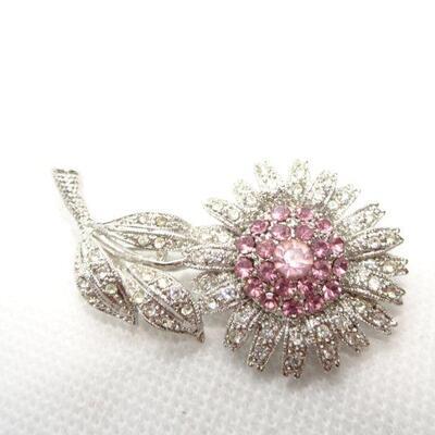 Silver Rhinestone Pink Daisy Flower Pin - Pretty