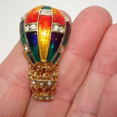 Enamel Rhinestone Gold Tone Hot Air Balloon Pin