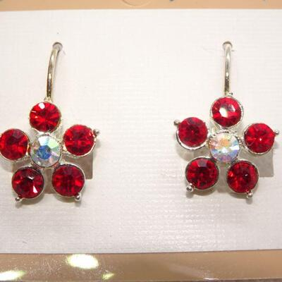 Pretty Red Flower Drop Earrings