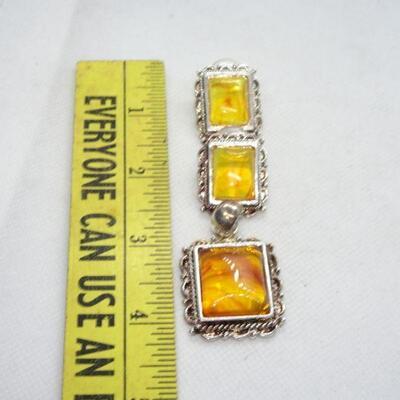 Silver Tone Amber like Pendant & post Earrings Set