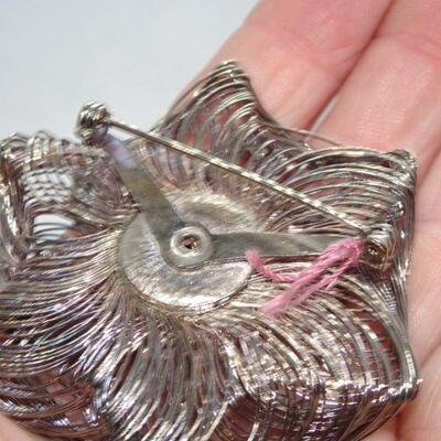 Silver Tone Rhinestone Flower Pin, - reminds me of a Spirograph Pattern