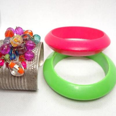 2 Bangles & beaded Cuff Bracelet