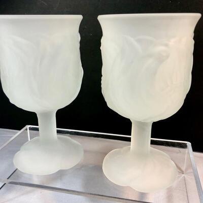 Vintage Frosted Glass Goblets